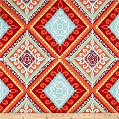 Terrasol Outdoor Spanish Tile Red/Orange from @fabricdotcom This great outdoor fabric is stain and water resistant, perfect for outdoor settings