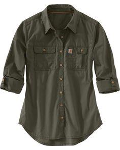 Carhartt Women's Force Ridgefield Shirt , Olive