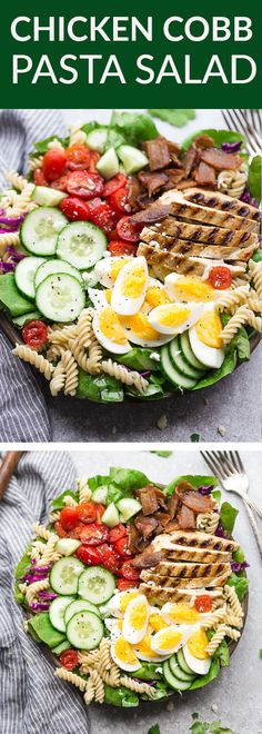 Cobb Pasta Salad an easy side dish perfect for summer parties picnics potlucks and BBQs. Made with bacon cucumbers grilled chicken tomatoes hard-boiled eggs cheese and a homemade ranch dressing. Easy Summer Salads, Easy Salads, Healthy Salads, Best Salad Recipes, Summer Salad Recipes, Healthy Recipes, Keto Recipes, Healthy Cooking, Hard Boiled