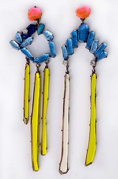 """Blue Earrings"" by Nikki Couppee 2012 - plexiglass, brass, fine silver, found object #jewelry #asymmetrical #oneofakind"