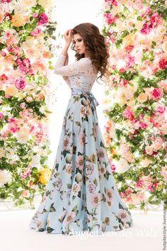Купить Кружевное платье с цветами в макси длине - платье на выпускной - однотонный, модное платье