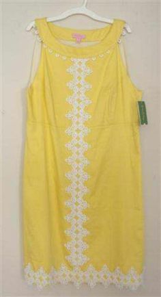 b6cf7529f39 NWT Lilly Pulitzer Women s 14 Yellow Lemon White Lace Jacqueline Lined Sun  Dress Lilly Pulitzer