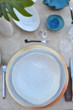 Personalized handmade white ceramic plates set by BlueDoorCeramics