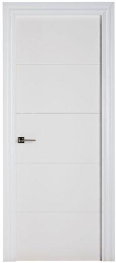 Puerta de interior con cristal lucerna lacada blanca doble for Puerta lacada blanca