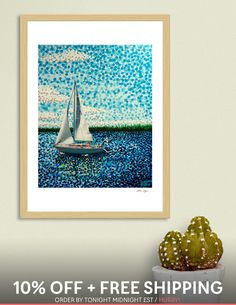 «Sailing With Olivia Finland, Sailing, Fine Art Prints, How To Draw Hands, Hand Painted, Paintings, Drawings, Artwork, Blue