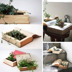 Book planter diy old books, recycled books, old book crafts, diy Diy Old Books, Old Book Crafts, Recycled Books, Recycled Materials, Suculentas Diy, Nachhaltiges Design, Diy Planters, Garden Projects, Garden Ideas