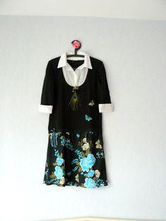 Robe Pull Noir,Manches Longues,Femme Taille 44, Couleur Turquoise,Ecru,Vert et Noir : Robe par mon-armoire-jolie