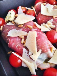 Italiaanse kip uit de oven met ham en pesto