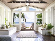 A sunroom found in your dreams...and in this Santa Rosa Beach remodel #hgtvmagazine http://www.hgtv.com/outdoor-rooms/from-dump-to-dreamy-beach-house/pictures/page-5.html?soc=pinterest (I like the bench seats)