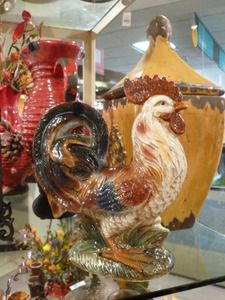 Decorative Handpainted Ceramic Tuscan Rooster Country Decor Kitchen And Nest