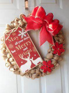 christmas burlap wreath christmas wreath burlap christmas wreath merry and bright wreath holiday wreath holiday burlap wreath ready to ship - Christmas Burlap