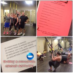 300 TRX Rep Challenge. Every 3 minutes complete 50 reps of hamstring and core exercises (listed).