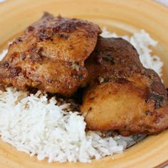 Honey Garlic Chicken Slow Cooker Recipe Main Dishes with boneless skinless chicken thighs, garlic cloves, dried basil, soy sauce, ketchup, honey
