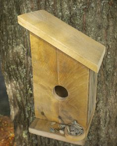 Rustic Reclaimed wood birdhouse for Bluebirds, Carolina Wren, Violet - Green Swallows, and other species