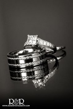 Wedding Ring Photography | Black & White | Reflection |  both rings are perfection!