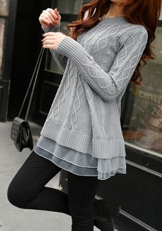 Make your winter outfit cute yet warm in this grey mesh-layered tunic sweater. It's stretchable with mesh layer at the hem, crew neck, ribbed detailing and cable knit. | Lookbook Store Sweaters