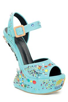 Guiseppe Zanotti Turquoise Candy Jewels no Heel Wedge Sandal Spring 2012 #Shoes #Wedges