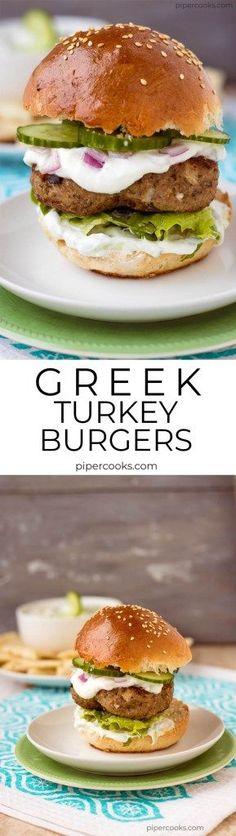 Greek Turkey Burger recipe on Pipercooks.com