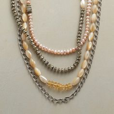"""HARMONY NECKLACE--Four-part harmony blends pink cultured pearls, pyrite and mother of pearl with citrines, pink quartz and sterling silver links. Leather loop clasp. Sundance exclusive handmade in USA. 22""""L."""