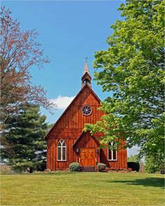 A small country church:) exactly the kind of place i want to get married at! then have the reception at a nearby barn:)