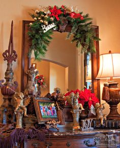 Christmas Entryway-Christmas Crescent over a mirror Welcomes guests