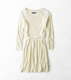 AEO Lace Shoulder Sweater Dress. Not this exact dress but something similar in a different color (blues?)