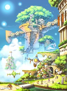 Solatorobo: Red The Hunter Fantasy Places, Fantasy World, Fantasy Art, Environment Concept Art, Environment Design, Landscape Illustration, Illustration Art, Cyberpunk, Fantasy Castle