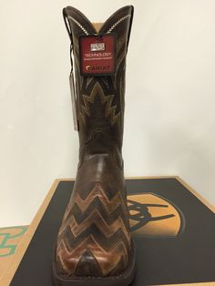 Women's On Point Ariat wide square toe with brown chevron detail. $199