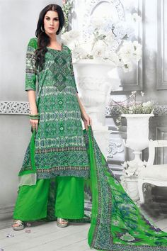 Look impressive and attractive in #parties and functions with this delightful #straightcut #palazzosalwar kameez. This green and grey color #cottondress material is #beautifully decorated with fancy yock resham #embroiderywork that reflects the elegance of the outfit.