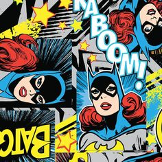 Pre-Order By the Yard Girl Power Batgirl Multi Cotton Fabric JTH1011