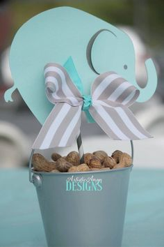 Elephant Centerpiece Toppers - Elephant Baby Shower or Birthday - Turquoise and Gray #decoracionbabyshower