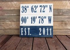 Personalized Longitude and Latitude Sign. Reclaimed wood Sign. Handmade Custom Signs. Made To Order