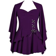 Diana Purple Asymmetrical Blouse with Lacing by Chicstar (€28) ❤ liked on Polyvore featuring tops, blouses, loose blouse, sleeve blouse, tie blouse, asymmetric tops and purple blouse