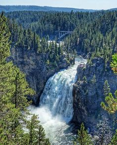 Located in the Canyon Area of Yellowstone National Park in United States, the Upper Falls is the first of two major falls in the Grand Canyon of the Yellowstone.