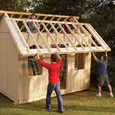 How to Build a Shed on the Cheap (DIY) | Family Handyman Cheap Storage Sheds, Diy Storage Shed, Cheap Sheds, Woodworking Projects Diy, Woodworking Plans, Popular Woodworking, Backyard Sheds, Backyard Buildings, Garden Sheds