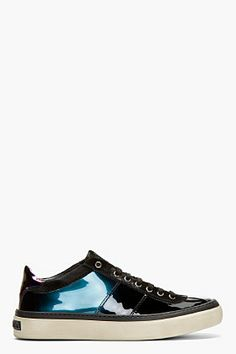 Jimmy Choo Black Iridescent Patent Leather Portman Tennis Sneakers for men | SSENSE