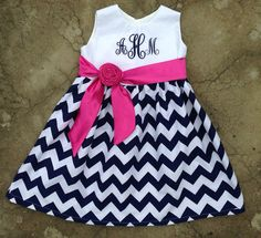 Hey, I found this really awesome Etsy listing at https://www.etsy.com/listing/151111166/girls-chevron-dress-monogrammed-navy
