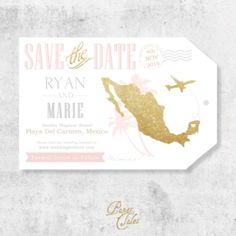 Blush Pink and Gold Glitter Mexico, Luggage Tag Destination Wedding, Save the Dates // DIGITAL