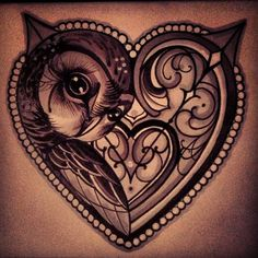 owl heart tattoo