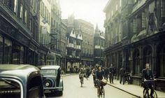 Cyclists on Cambridge Street. London.. 1944