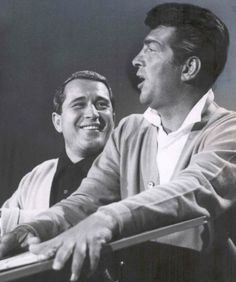 Dean Martin and Perry rehearsing for Perry Como's Kraft Music Hall, 1964