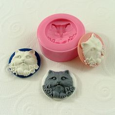 Cat Cameo Cabochon Flexible Silicone Mold/Mould (25mm) for Crafts, Jewelry, Scrapbooking, (resin, pmc, polymer clay) (246)