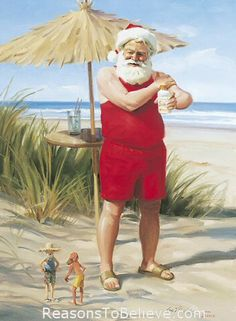 Ready For the Sun - canvas giclee print | Santa Claus Figurines and Hand Carved Wooden Santas