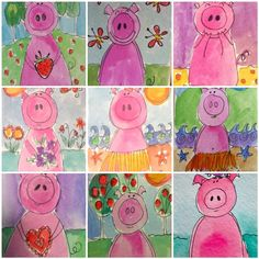 My Art Gallery: Search results for Pigs You are in the right place about kindergarten art projects l Classroom Art Projects, Art Classroom, Kindergarten Art Lessons, First Grade Art, Art Gallery, Pig Art, Farm Art, Farm Theme, Preschool Art