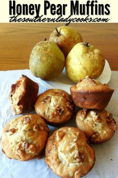 Honey pear muffins are delicious for breakfast with coffee or as a snack anytime. These muffins will become a quick favorite. Pear Recipes Easy, Pear Dessert Recipes, Honey Recipes, Fruit Recipes, Muffin Recipes, Baking Recipes, Jelly Recipes, Pear Muffins Recipes Healthy, Recipe For Pear Bread