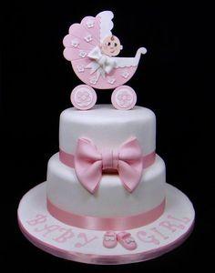 Baby Shower Pram Topper Cake - by FancyCakesbyLinda @ CakesDecor.com - cake decorating website