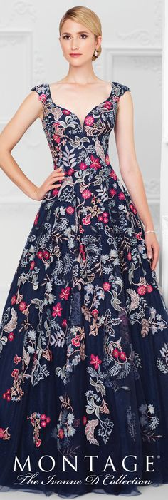 Formal Evening Gowns by Mon Cheri - Spring 2017 - Style No. 117D76 - navy and floral embroidered tulle and lace evening dress with cap sleeves