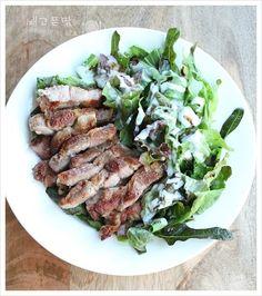 집에서 푸짐하게 만들어 먹는 외식메뉴....목살스테이크 샐러드 - Daum 요리