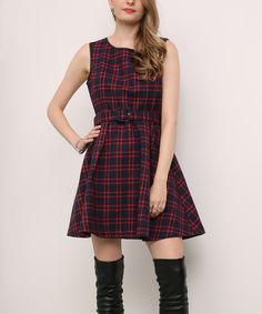 Take a look at this Suzanne Betro Red & Navy Plaid Fit & Flare Dress today!