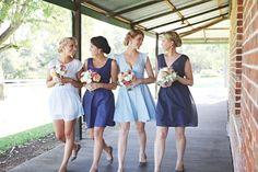 blue bridesmaid dresses. Photo by Nectarine Photography